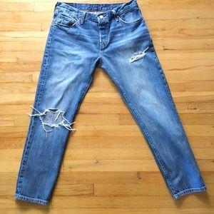 Levi's 501 Distressed straight leg jeans